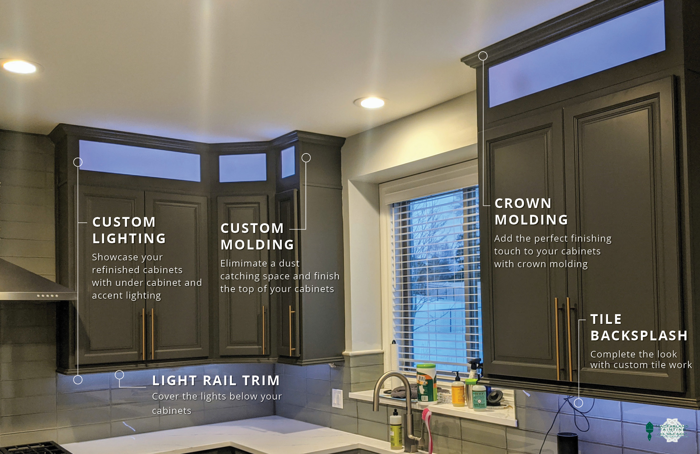 Custom Lighting, Custom Molding, Crown Molding, Tile Backsplash & Light Rail Trim